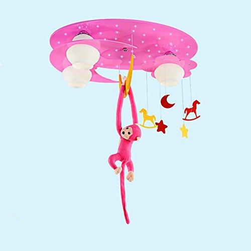 GYUHANLT Moderne Persönlichkeit Kinder Baby Kinderzimmer Schlafzimmer schönen Cartoon Eye Care Deckenleuchte, Kindergarten Kinder Lampe Holzarbeiten Affen, die im Mittelmeer fischen, pink 70*50 cm weißes Licht