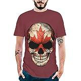 TianWlio Tops T-Shirts Herren Sommer Mode Splash Tinte 3D Druck Tees Shirt Kurzarm T-Shirt Bluse Tops Rot XXXL
