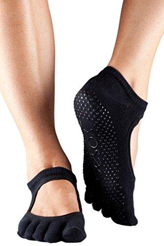 ToeSox Frauen 1 Paar Bella Voll Toe Organic Cotton vorne offen Yoga Socks In Black 6-8,5 Damen schwarz