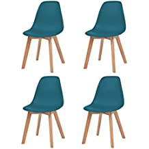 Festnight 4 Pcs Chaise De Salle A Manger Design Moderne Turquoise
