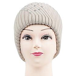Bonjour Womens Embellished Knitted Woolen Cap (Lt. Beige)