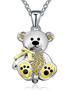 925Sterling Silber Teddybär Anhänger Halskette Geburtstag Geschenke für Frau Frauen Mädchen Mutter Tochter, 45,7cm