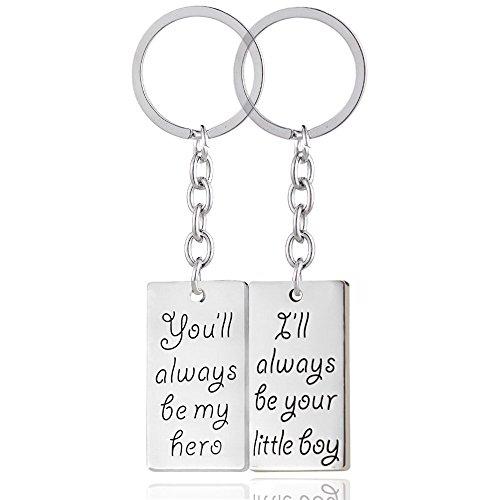 Maschi 2pcs sarai sempre il mio eroe sarò sempre tuo ragazzino portachiavi anello impostato festa del papà regalo