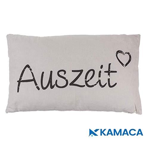 Kamaca AUSZEIT Kissen 30 cm x 50 cm Flauschig gefülltes Kissen mit Reißverschluss Bezug aus 100% Baumwolle EIN Hingucker und wertiges Geschenk (AUSZEIT Creme)