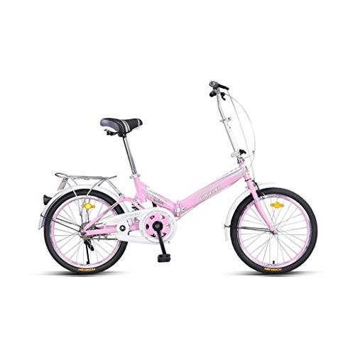 Fahrrad Faltrad Ultraleicht Student Bike Mini Fahrrad Erwachsene Universal Fahrrad City Bike Pendeln 20 Zoll Kompaktes Fahrrad (Color : Pink)