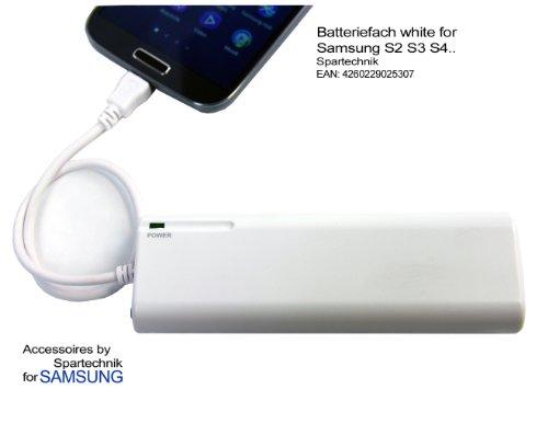 Batteriefach für Samsung - externes Batterieladegerät für S2 S3 S4 Tab 3 B7722i C3530 Chat T335 350 Corby II E1360 Galaxy S I9000 S2 551 Galaxy S Plus Nexus S Omnia 7 523S S8500 Wave Star II 525 723 Ace Ace 2 - weiß