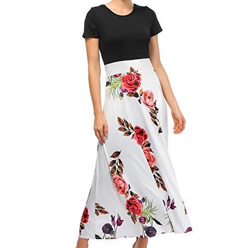 B-commerce Frauen Party Langes Kleid - Mode Lässig Floral Bedruckt Maxi Kurzarm Kleid Boden Leght Sommer Strand Lässig Sommerkleid