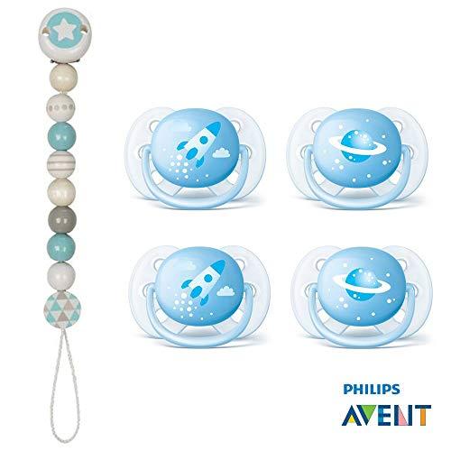 Avent Ultra Soft sucette 0-6 mois Lot de 4 Boy, 2 Boite de transport et de stérilisation, Heimess Attache-tétine
