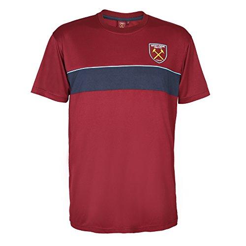 West Ham United FC Official Gift Mens Poly Training Kit T-Shirt Claret Medium