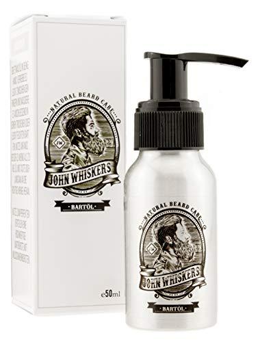 John Whiskers Bartöl Made in Germany - 50ml - beste Qualitätsöle für einen weichen und gesunden Bart - Vegan & süßlich herber Duft