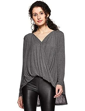 VERO MODA Women's Plain Regular Fit Synthetic Top (10186478-1959536002_Grey_XS)