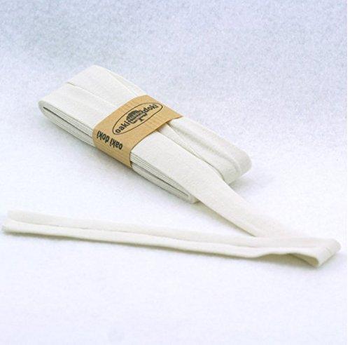 Oaki Doaki Jersey-Einfassband 3m, elastisches Schrägband, Breite: auf 2cm vorgefalzt, cremeweiß(320) (Aus Baumwoll-jersey-band)