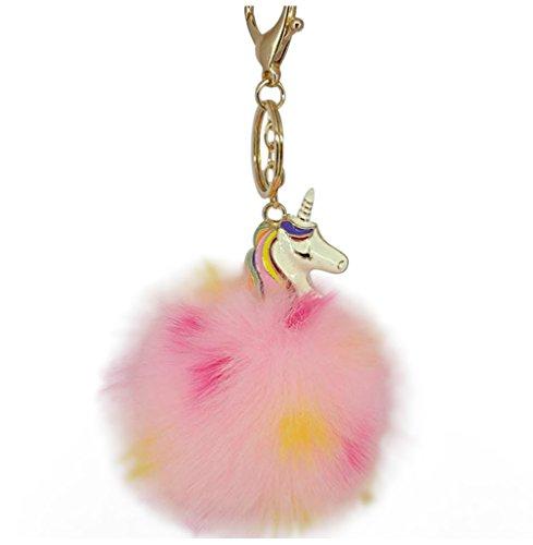 Hosaire 1x Keychain Mode Damen Taschenanhänger Farbig Einhorn mit Plüschball Anhänger Schlüsselbund Auto Keys Damen Tasche Deko Anhänger Schlüsselanhänger