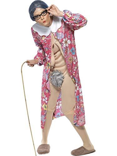 Halloweenia - Damen Frauen Schwerkraft alte Oma Kostüm mit Morgenmantel und Bodysuit, perfekt für Karneval, Fasching und Fastnacht, M, Rot (Halloween Kostüme Alte Für Dame)