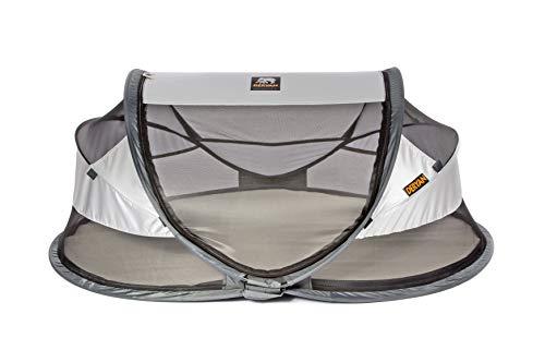 Deryan Travel-cot Baby Luxe Reisebettzelt inklusive Schlafmatte, selbstaufblasbarer Luftmatratze und Tragetasche mit Pop-Up innerhalb 2 Sekunden aufgebaut,silver