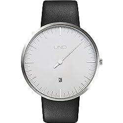 Botta Design UNO+ Jubiläumsedition Armbanduhr - Einzeigeruhr, Edelstahl, perlweißes Zifferblatt, Datum, Lederband