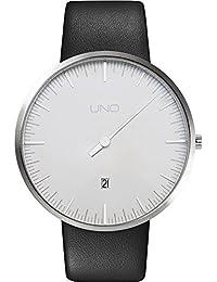 Botta Diseño Uno + aniversario Edition Reloj de pulsera–einzeiger Reloj, acero inoxidable, perlweißes Esfera, fecha, correa de piel