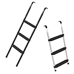 Trampolin Leiter 86 oder 110 cm lang, Treppe mit 3 Breiten Stufen, praktische Einstiegsleiter für Gartentrampoline