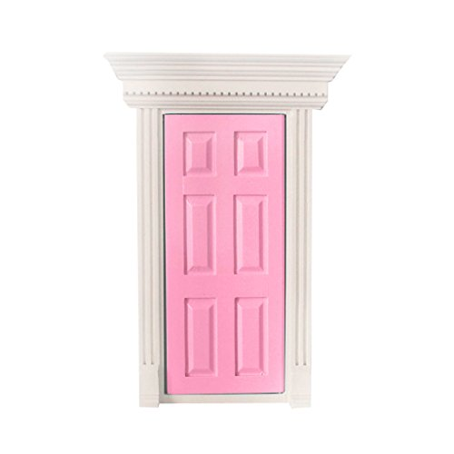 112-scale-wooden-fairy-front-door-doll-house-miniature-accessory-pink-
