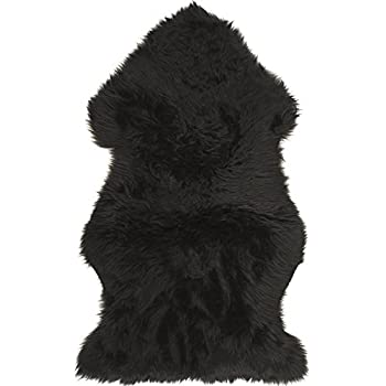 Superior Lambland Hand Finished And Stitched Premium Sheepskin Rug In Black   Size  Single