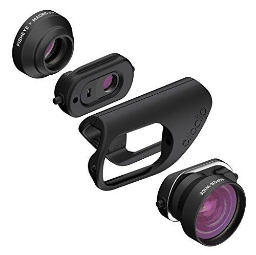 OLLOCLIP - Set Obbiettivi CORE Per iPhone 8/8 Plus & 7/7 Plus I Immagini, Video, Panoramiche In Alta Definizione I Professionale- Lente Nera/Clip Nera