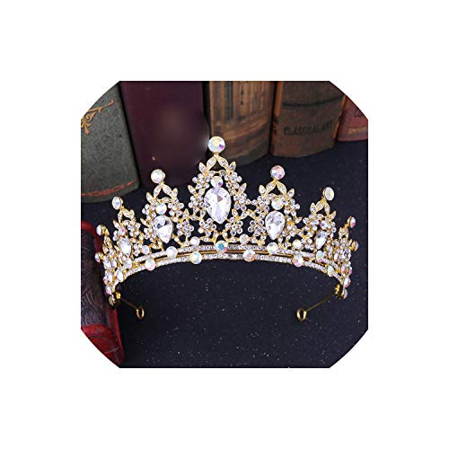 lingmo handgemachte Strass Brautkrone Tiaras Silver Crystal Diadem Tiaras, Gold Ab Farbe