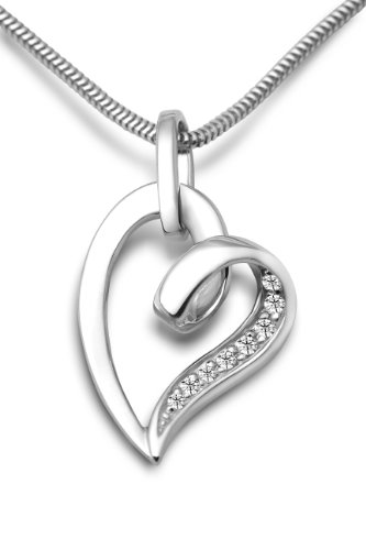 Miore 925 Sterling Silver Necklace with Open Heart Pendant and Clear Cubic Zirconia on 45cm Snake Chain for Women YTvXO