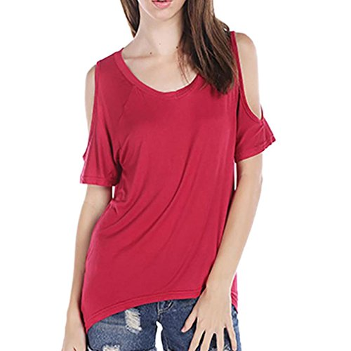 Toamen T-shirt Manche courte Col en V Décontractée Épaule Sexy Couleur pure Femmes (L, Rouge)