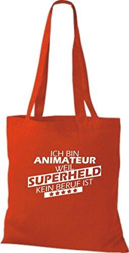 Shirtstown Stoffbeutel Ich bin Animateur, weil Superheld kein Beruf ist rot