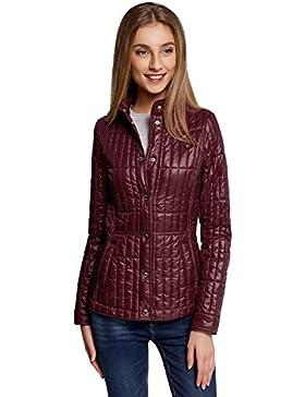 oodji Collection Damen Taillierte Jacke mit Stehkragen
