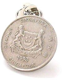 Singapur Münze Krawattennadel Anstecknadel Anzug Flagge Asien Singapur 新加坡 Barang kemas bendera 首饰 首饰 Münze handbemalt