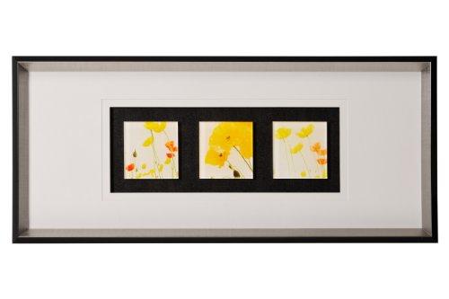 Premier Housewares 7030B Dreifaches Wandbild gerahmt mit Blumenmotiven 80x35cm mehrfarbig