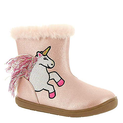 Sugar Kids Cookie Girls Shoe Pink Fuzzy Fur Lined Unicorn Print Winter Snow Boot Low Shaft Ankle Boot