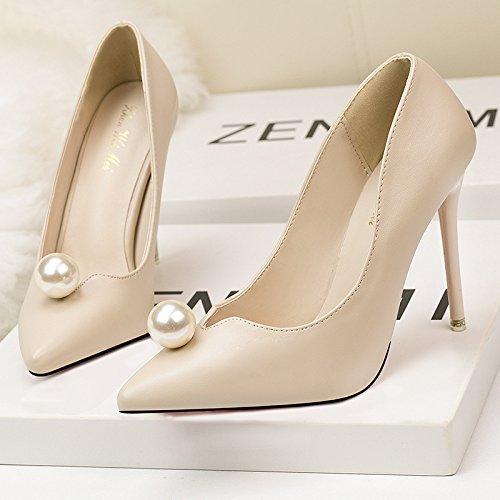 Il coreano le donne della moda scarpe, dolce e semplice delle donne belle scarpe con tacco alto bocca poco profonda punta perla apricot