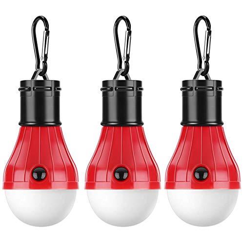 3 Stück Tragbare Birne vom LED-Licht mit Laternes für Notfallszelt für Hauhalt, Camping, Angeln, Wandeln, Rucksacktuorismus, Batterie angetrieben and wasserdicht. (Rot) ()
