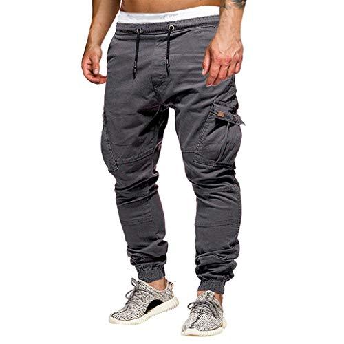 ZYUEER Herren Hosen Freizeithose Joggerhose Männer Freizeitmode Aufkleber Pocket Tether Elastic Sporthose Hose Elastische mit Taschengurt