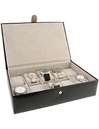 Caja para 10 relojes de esfera grande en piel negra