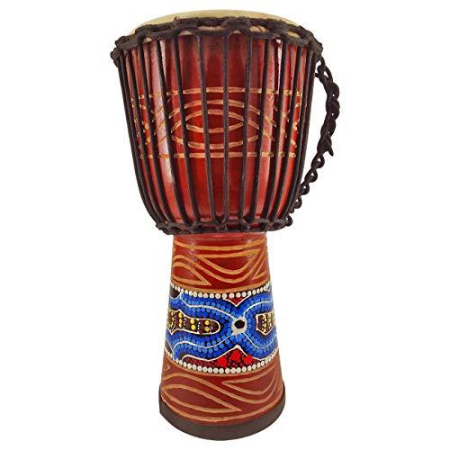 40cm Profi Djembe Trommel Bongo Drum Buschtrommel Percussion Motiv Buntes Muster Afrika Art - (Für Kinder ab 6 Jahren und Anfänger)