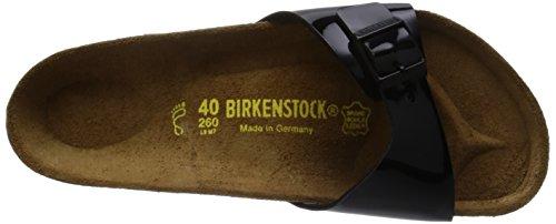 BIRKENSTOCK Classic Madrid Birko-Flor Damen Pantoletten Schwarz (Schwarz Lack)