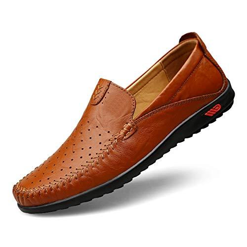 GPF-fei Herrenschuh Leder Faule Schuhe Loafers Schuhe Driving Schuh runden Schuh Peas Schuhe Single Schuh Comfortable Fashion Breathable Leisure,Red,42 Moc Slip