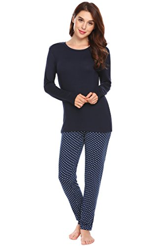 Print-schlafanzug (Ekouaer Damen Lang Schlafanzug Print Pyjama Langarm Zweiteiliger Polka Dots Hausanzug Dunkelblau S)