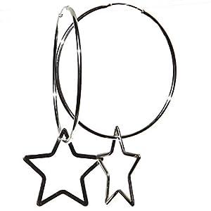 32mm Sterling Silber 925 Creolen mit Sternen
