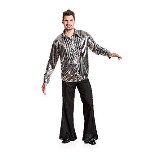 chenhemd Herren silber Rüschen-Hemd Größe 52/54 (Silbernes Disco-hemd)