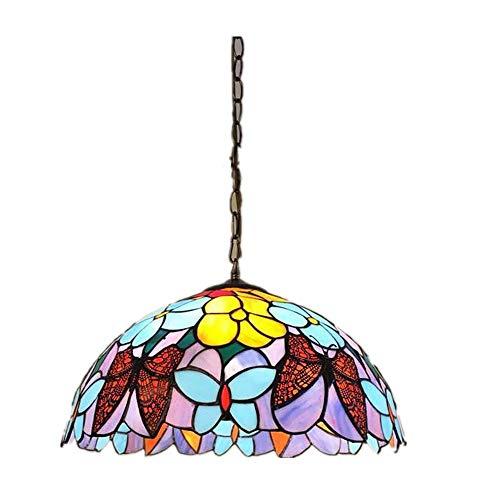 Lámpara de Techo de Estilo Victoriano Luminaria Colgante de Vidrio Pantalla Colgante Vidrieras Flor de época Flor pequeña Lámpara Colgante Pantalla (Color : B, tamaño : Free Size)