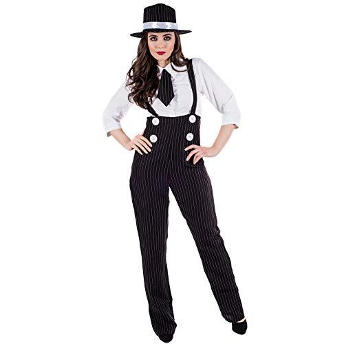 Fun Shack FN3618M Kostüm, Damen, 20er Jahre Gangster, - Black Und White Gangster Kostüm