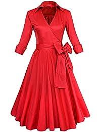 Bestfort Vintage Kleider Damen 50er Retro Mode V-Ausschnitt 3 4 Ärmel Kleid  Cocktailkleider d88212b077