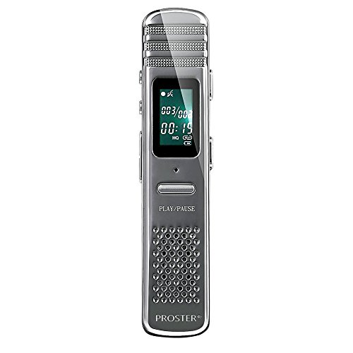 Proster 8GB Registratore Vocale Digitale / Registratore Audio Attivata Voce Multifunzionale Portatile Ricaricabile Dittafono MP3 Lettore per Interviste Riunioni Classe ecc