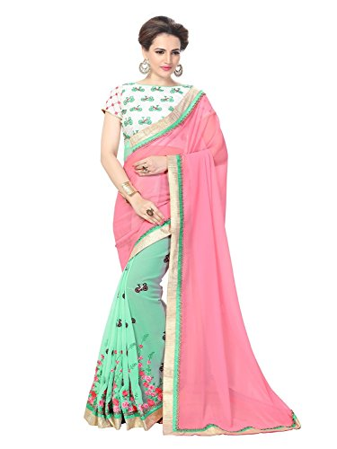sarees(TreadIndia Women's Pink Color Embroidery Work Half-Half Georgette saree)