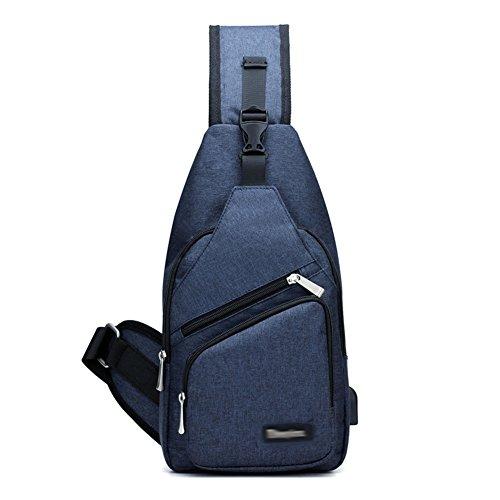 Herren Damen Fashion Brust Tasche Leinwand Sport Umhängetasche mit USB Lade-Schnittstelle Blau Navy Free Size