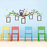 Xqi wangpu Coppia Gufi Albero degli Animali Cornice Cornice per Foto Stickers da Parete Salotto Camera da Letto per Bambini Stickers murali Decorazione per Matrimoni 133x52cm